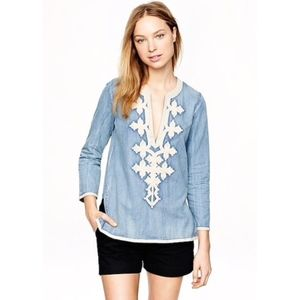 J. Crew Chambray Embroidered Tunic Blouse Petite